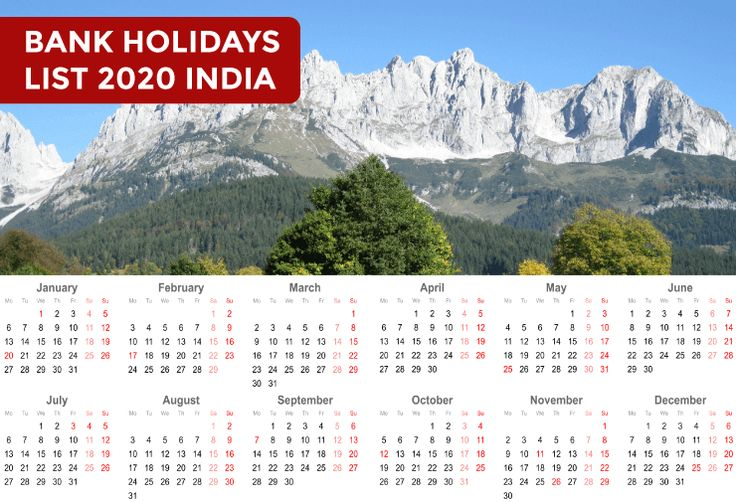 Bank Holidays List 2020 in India Holiday list, Bank