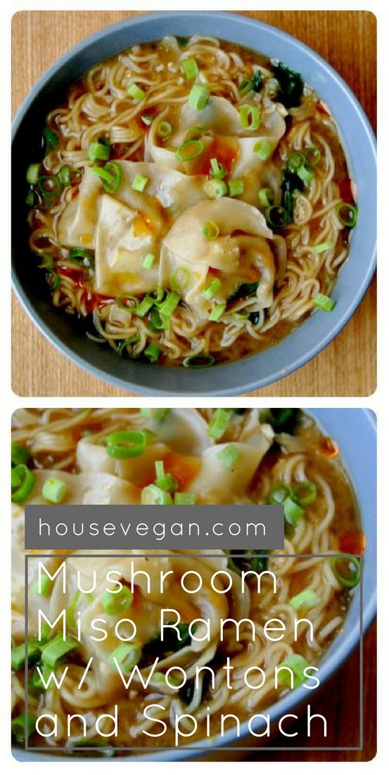 Vegan Mushroom Miso Ramen with Wontons and Spinach - This amazing vegan ramen will satisfy you perfectly when the soup cravings hit. Click here for the recipe!