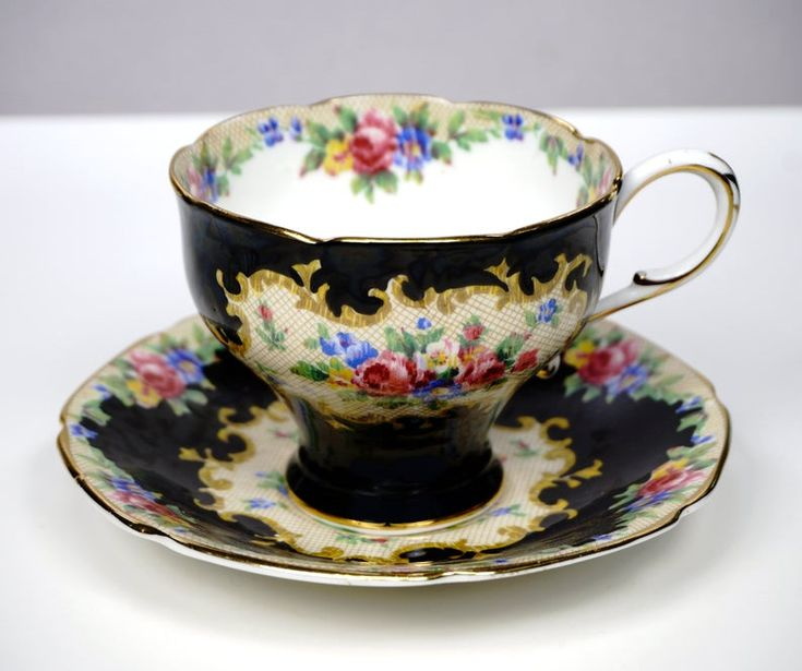 Paragon MINUET Corset Tea Cup and Saucer, Tapestry Rose Black Background, English Bone China, Wedding Gift, Replacement China, 1940s