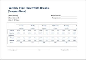 Weekly time sheet with breaks DOWNLOAD at http://www.templateinn.com/8-time-sheet-templates-for-timekeepers/