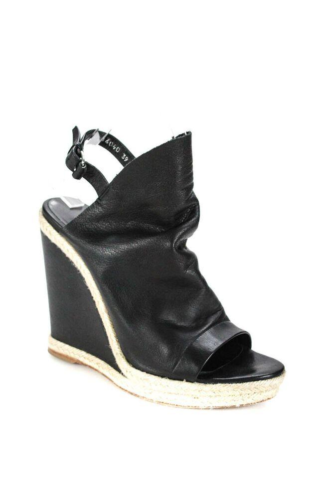 903f416bbab (eBay Advertisement) Balenciaga Womens High Heel EspadrilleWedges Black  Leather Size 39 9