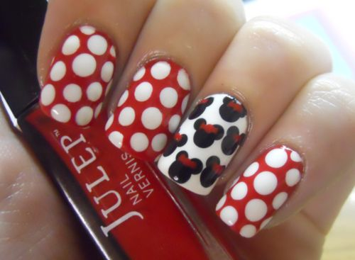 Minnie Mouse NailsMice, Polka Dots, Nails Art, Nails Design, Minniemouse, Disneynails, Mouse Nails, Minnie Mouse, Disney Nails