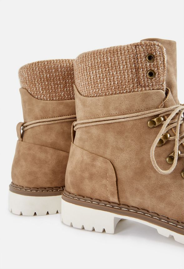 Kass Lace-Up Rugged Boot | Faux leather