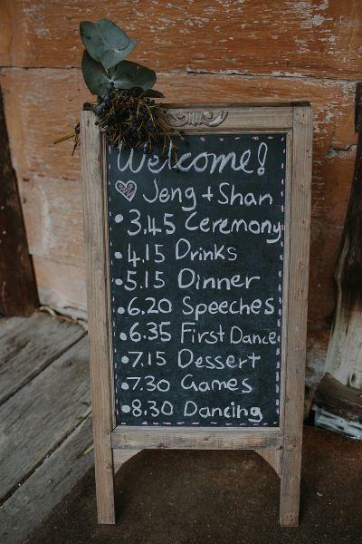 Wedding chalkboard Wedding styling by Make Your Day makeyourdayweddingstyling.com.au Suzanne & Jeng