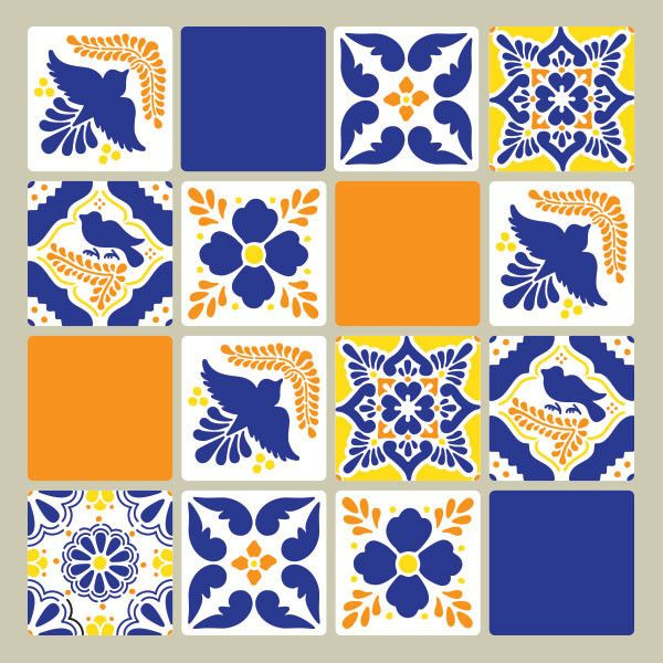 DIY Mexican Talavera Tile Furniture Stencils - Royal Design Studio