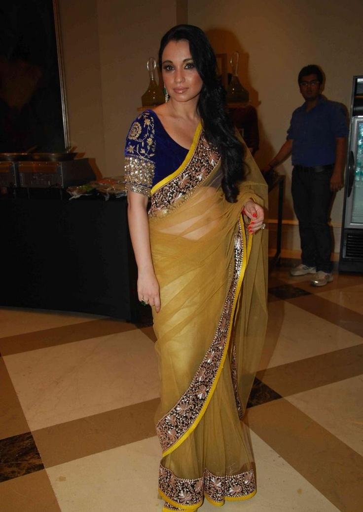 Yellow Manish Malhotra sari with blue blouse