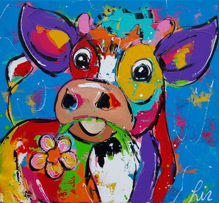 Koetje blauw - www.vrolijkschilderij.nl