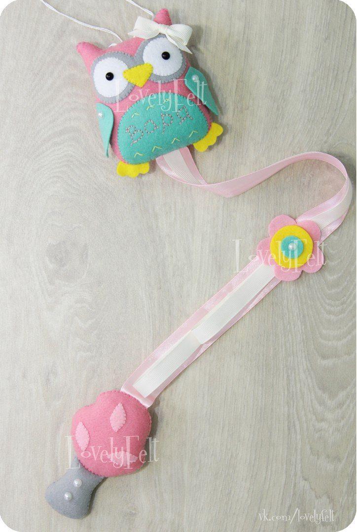 Купить или заказать органайзер для заколок из фетра Держатель заколок резинок ободков organizer holder hair clip headbands owl felt