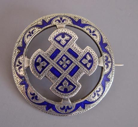 """VICTORIAN Scottish silver with royal blue enameling brooch, c catch and hinge, 1-3/4"""". See a similar brooch in Davidov & Dawes """"Victorian Jewelry"""" page 33"""