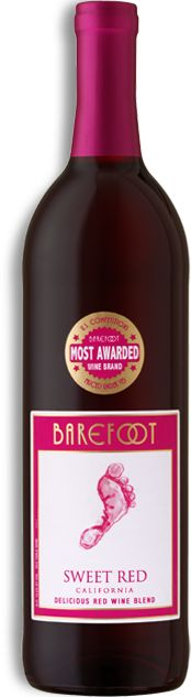 BAREFOOT Sweet Red -Chill out (no seriously, try this chilled) with the ripe, juicy flavors of raspberry, pomegranate and cherry.