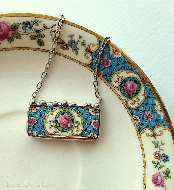 Broken china pendant necklace antique pink cabbage roses on blue broken china jewelry