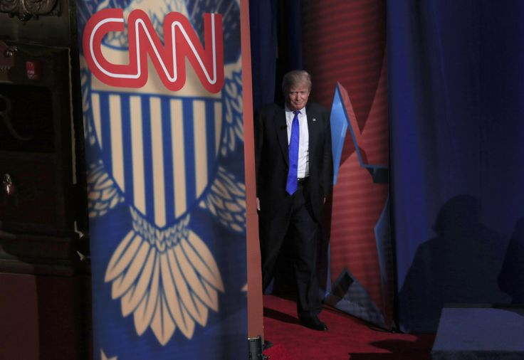 MILWAUKEE, WI - MARCH 29: Republican Presidential candidate Donald Trump enters the stage as he takes part in a town hall event moderated by Anderson Cooper March 29, 2016 in Milwaukee, Wisconsin. Candidates are campaigning in Wisconsin ahead of the state's April 5th primary. (Photo by Darren Hauck/Getty Images)