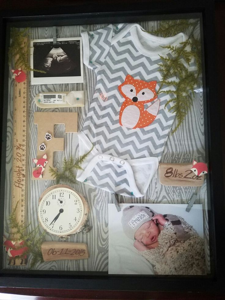Baby Shadow Box  16x20 shadow box  Weight & date pieces are just wood from the craft store.  The clock was made from a disassembled alarm clock and cut piece of tree trunk.