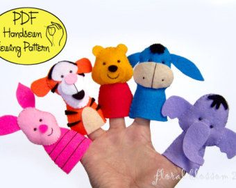 Digital Pattern: Zoo Friends 02 Felt Finger by FloralBlossom