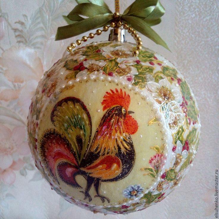 """Купить Новогодний шар """"Петушок"""" - Новый Год, новый год 2017, год петуха, символ года"""