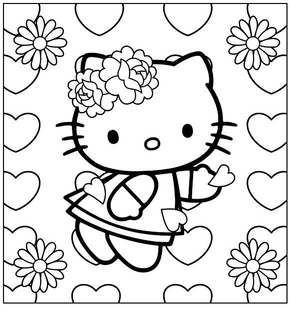 i have download hello kitty wearing a ribbon flower coloring page - Cartoon Coloring Book