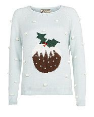 Pale Blue (Blue) Pale Blue Polka Dot Pudding Christmas Jumper | 289534545 | New Look
