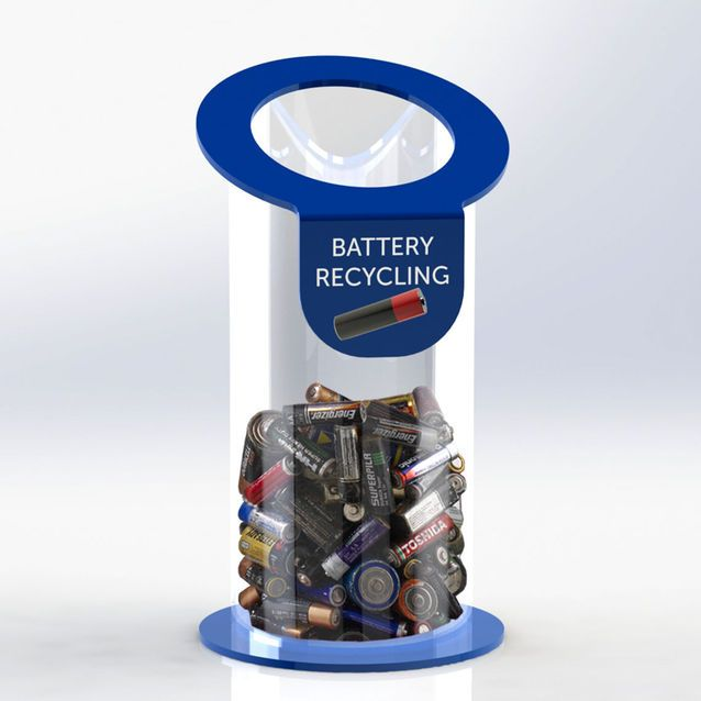 Acrylic battery recycling bin available as a counter top or floorstaning unit and in a choice of colours from Luminati Ltd