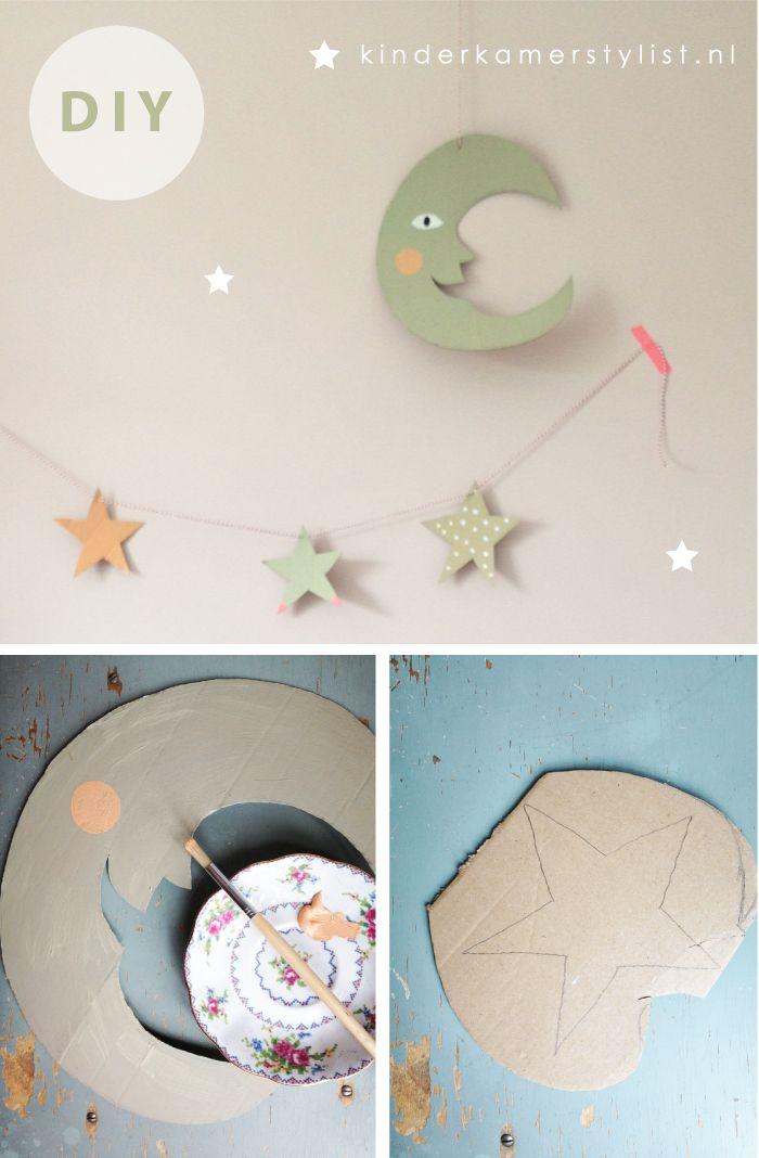 DIY moon and stars wall art. Cute for a baby nursery.