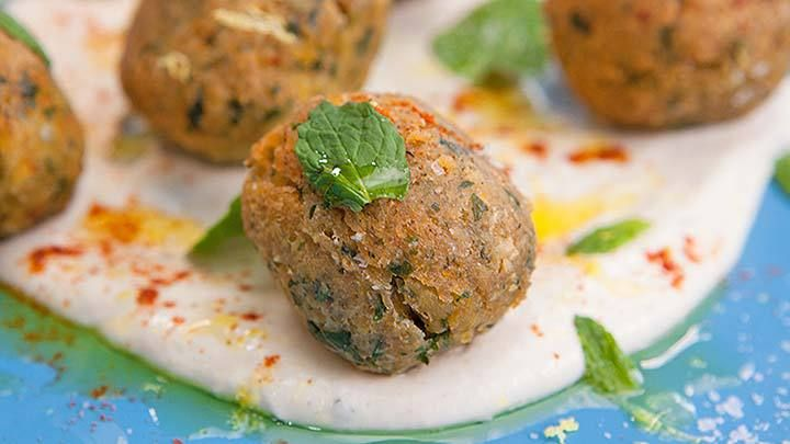 Spicy Couscous Falafels with Tahini Yoghurt