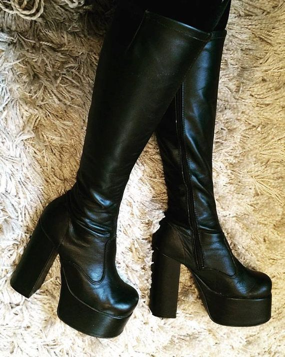 3bae81c22b6 Vintage 1970s PLATFORM BOOTS Skin Tight Black Leather Knee High ...