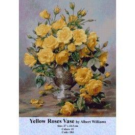 Gobelin Tapestry Kit - Yellow Roses Vase by Albert Williams