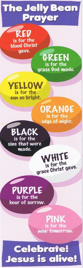 The Jelly Bean Prayer, a prayer for anytime including Easter, each color has a different meaning. National Jelly Bean Day is April 22.