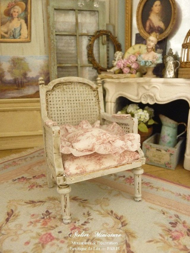 Marie Antoinette Miniature Armchair In Wood, Cane Imitation, French Toile,  Dollhouse Furniture, Scale