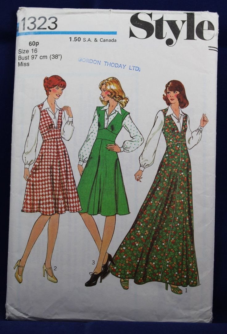 Vintage 1970's Sewing Pattern for a Pinafore & Blouse in Size 16 - Style 1323 by TheVintageSewingB on Etsy