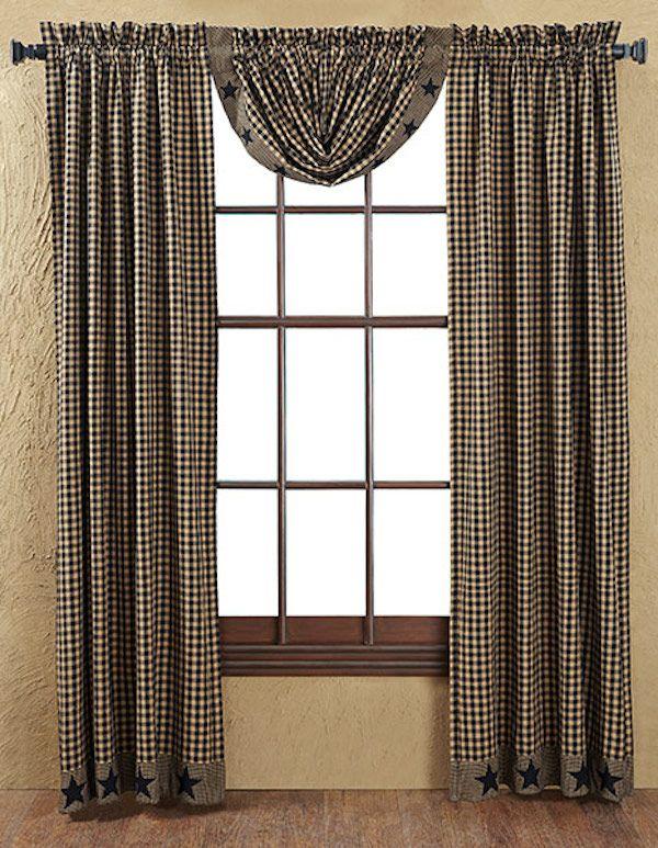 Black Star Applique Window Panels And Balloon Valance...Colonial And  Primitive Country Home