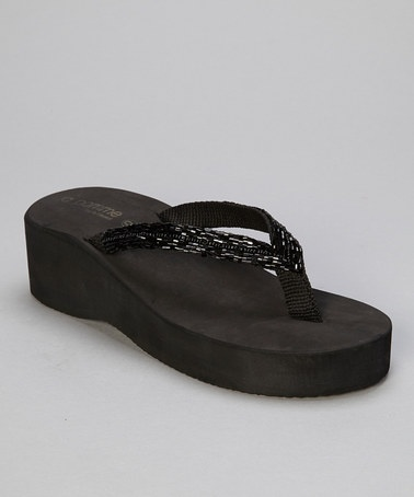 Take a look at this Black Self Beaded Wedge Flip-Flop by la pomme on #zulily today!