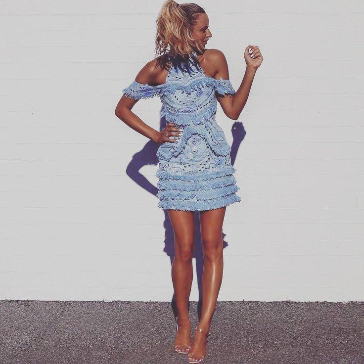 Thurley - Aphrodite Dress  Ice Blue | Mini Dress | Tassels | Off-Shoulder | Halter Neck