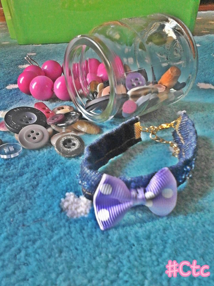 beautiful and girly bracelet with bow tie made of jeans...5$ #ctc #collection #jeans #bow #tie #girly #funky