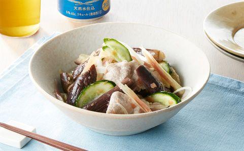 金麦レシピ|蒸し茄子と豚しゃぶの梅肉和え|金麦スタイル - 抽選で金麦が当たる!