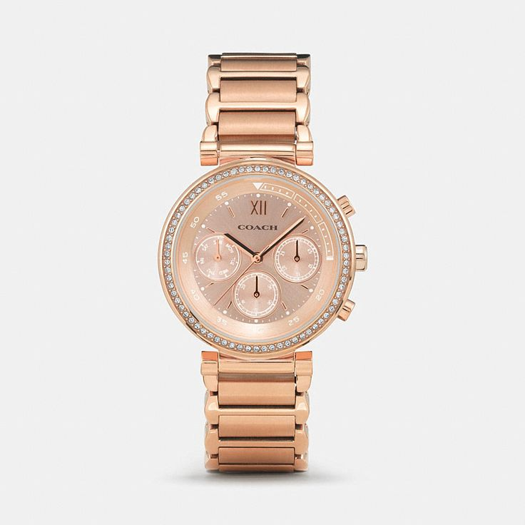 Named for the year Coach was founded, the 1941 Sport Collection was crafted exclusively for us by a master watchmaker. This lavishly plated design features a bezel set with tiny, glittering crystals and the pretty complication of three sub-eyes.