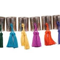 Set de 6 ronds de serviette avec 2 pompons multicolor