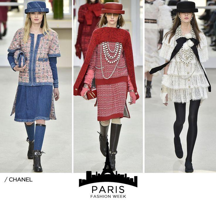 Chanel:Com todos os convidados na primeira fila, Karl Lagerfeld apresentou   um desfile mais Chanel impossível! Clássicos tailleurs com tweeds, alguns   misturados com o toque moderno de transparência e jeans, saias midi e   calças afastadas do corpo. As estampas florais e geométricas também surgem   em alguns momentos. Atenção para os chapéus preferidos de Coco Chanel e   luvas longas. Outro hit: os colares de pérolas cada vez maiores!!    Agnès B.:Trouxe uma coleção minimalista e bem…