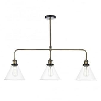 Ray 3 Light Pendant Bar in Antique Brass