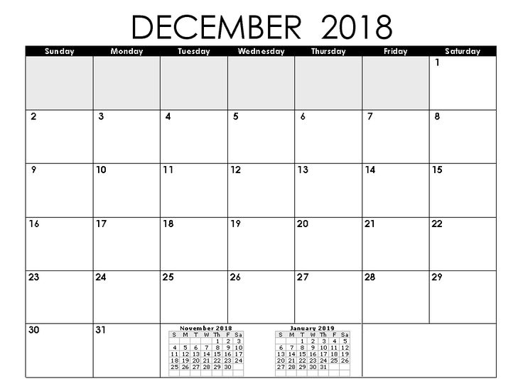 Calendar December 2018 To January 2019 December 2018 Calendar
