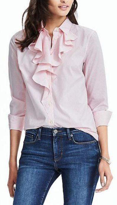 pink stripe ruffle blouse