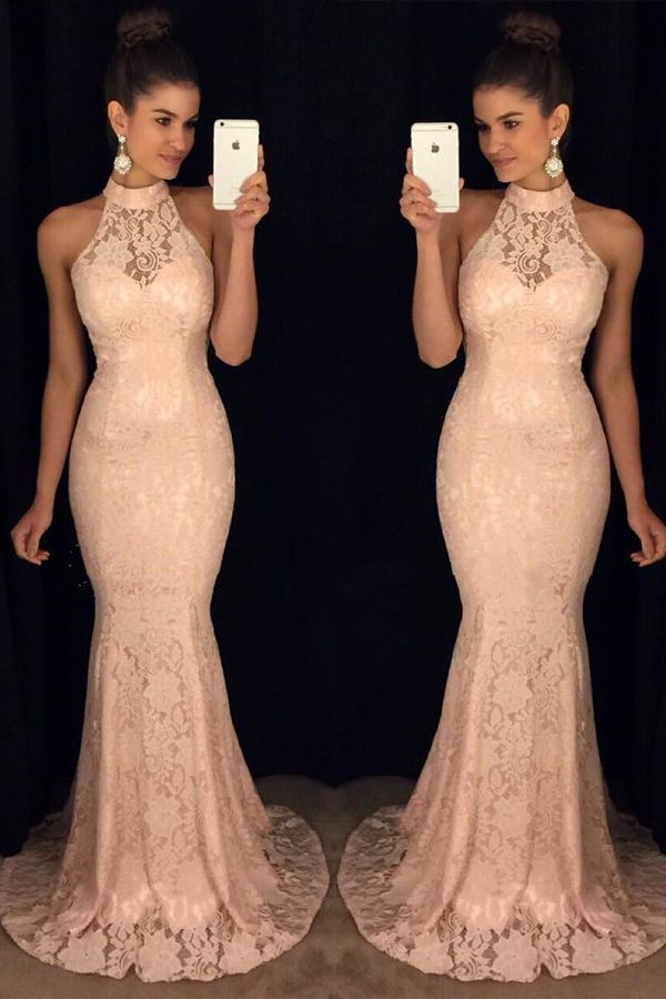 New Arrival Pink Lace Prom Dresses,High Neck Mermaid