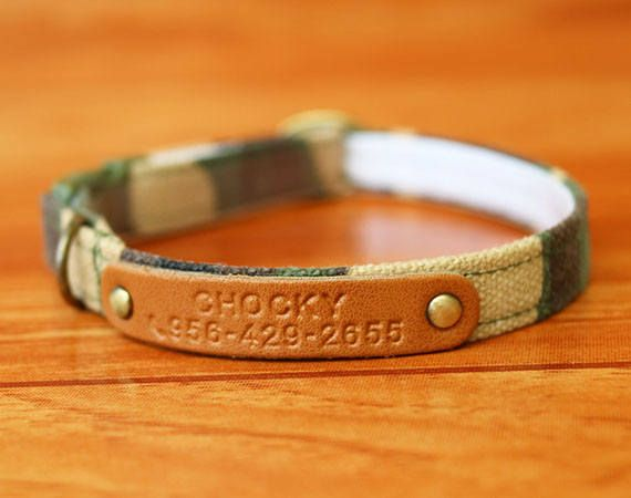 The Cozy Camo Personalized Cat Collar with the Non-Leather Tag as Chelsea grey Color ,it is very stylish Camo which is a great choice for your cat. Supper perfect! way buckle .***  ***You can give us your cat name and tel number ,then we will stamp it on Non-Leather tag. Enter your cat