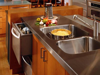 Stainless steel countertop with molded sink.