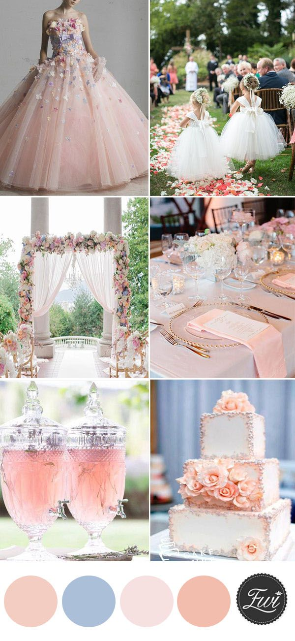 elegant peach with floral summer wedding color ideas
