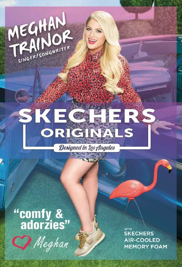 Meghan Trainor is showing off her #MTrainSKECHERS collection in this fun print ad featured at Skechers stores across the globe.