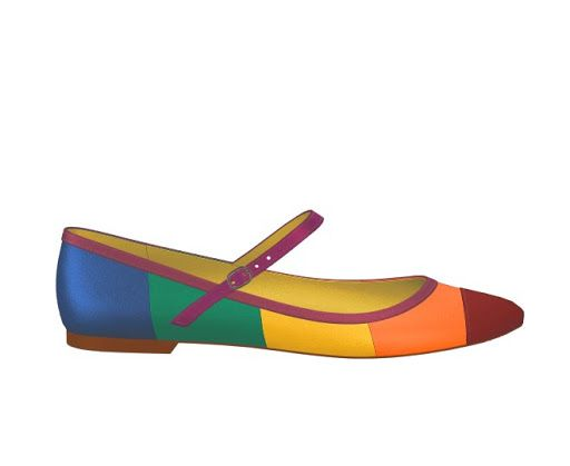 A ballet flat in wide rainbow stripes. A charming casual shoe. I often add straps to my ballet flats as they slip off my feet a lot.