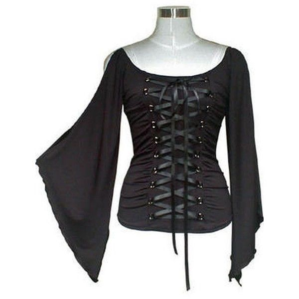 Sexy Slinky Batwing Top Gothic Vintage Victorian Fancy Dress LARP... ($55) ❤ liked on Polyvore featuring tops, shirts, witchy, victorian shirt, dressy shirts, gothic corsets, sexy corset and batwing shirt