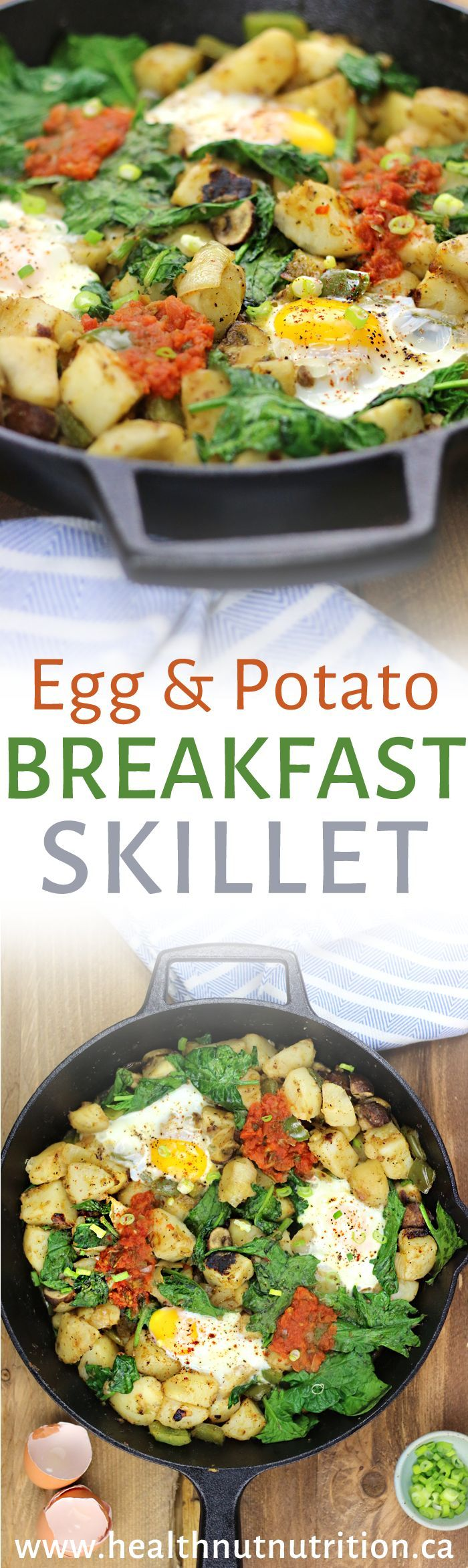 Egg and Potato Breakfast Skillet: Made with crispy potatoes pan fried with peppers, onion, and garlic with sunny side up eggs right on top with salsa and spinach for the ultimate breakfast skillet.