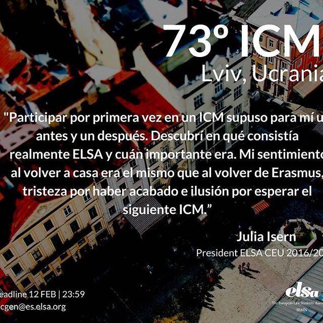 ¡Forma parte de la delegación de ELSA Spain en el 73º International Council Meeting de ELSA en Lviv, Ucrania!    Toda la info de cómo aplicar, qué es un ICM, cómo viajar a Lviv y precios en nuestra página web: http://elsa-spain.org/73o-international-council-meeting-lviv-2018/    Inscríbete antes del 12 de Febrero a las 23:59.