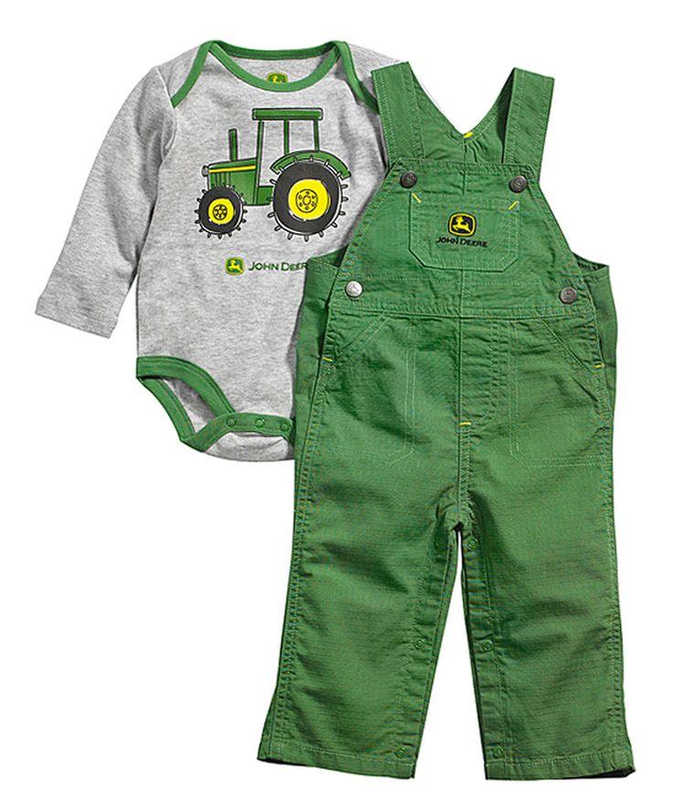 Loving this Heather Gray & Green 'Farm Days' Bodysuit & Overalls - Infant on #zulily! #zulilyfinds